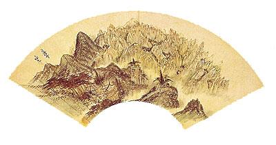 금강산정양사도. 국립중앙박물관 소장. 정선 그림. 22×61cm. 지본설채. 왼쪽과 아래 부분에는 토산이 자리잡고 중앙에 정양사를 중심으로 뒤와 오른쪽으로는 금강산 1만 2,000봉이 빽빽이 들어서서, 그 전모를 한 공간에다 모아놓은 것이다. 두산세계대백과사전 사진