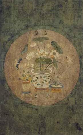 자수사계분경도. 4곡병 중 가을. 자수박물관 소장. 한국민족문화대백과사전 사진