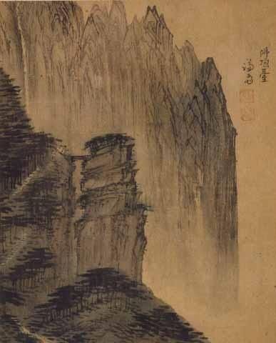 불정대. 정선(조선 후기, 1676-1759 그림). 22cmx27cm. 종이에 채색. 간송미술관 소장. 한국민족문화대백과사전 사진