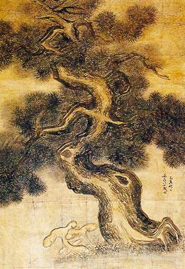 노송영지. 조선 후기의 화가 정선 작. 147×103cm. 지본담채. 노송을 소재로 그린 그림. 즉, 늙은 소나무만을 주제로 하여 그린 그림을 말한다. 두산세계대백과사전 사진