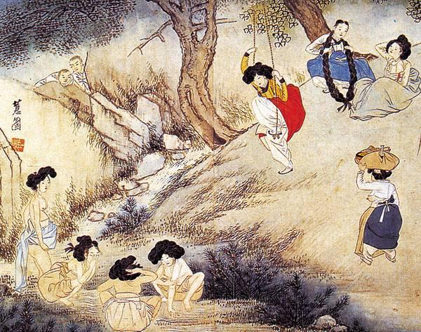 단오도. 서울 간송미술관 소장. 신윤복 그림. 28×35cm. 지본담채. 타래머리의 여인들과 개울가에서 목욕하는 반라의 여인들, 바위틈으로 숨어서 넘겨다보는 승려의 모습 등을 대담하게 그렸다. 두산세계대백과사전 사진
