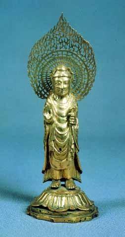 경주 구황리 금제여래입상, 통일 신라, 692년경, 국립중앙박물관 소장, 국보 제80호.