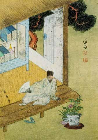 독서여가도. 정선(조선 후기, 1676-1759) 그림, 17cmx24.1cm.비단에 옅은 채색. 간송미술관 소장. 방건을 쓴 선비가 한손에 부채를 들고 초옥의 툇마루에 편안히 앉아 마당의 분재된 모란과 난을 물끄러미 바라보는 모습을 담은 것이다. 한국민족문화대백과사전 사진