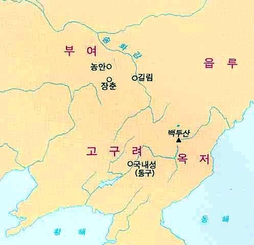 부여 위치도. 서기전 2세기경부터 494년까지 북만주 지역에 존속했던 예맥족의 국가. '북부여'라고도 한다.