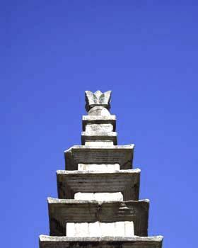 중원탑평리칠층석탑 윗부분과 상륜부. 문화재청 사진