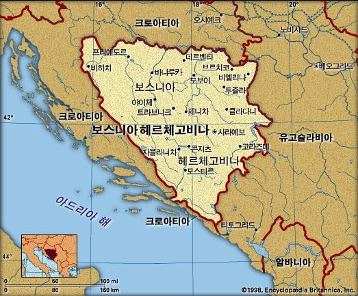 보스니아-헤르체고비나 지도. 브리태니카백과사전 지도