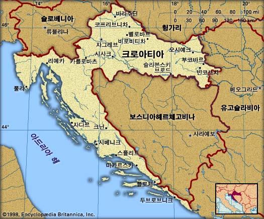 크로아티아 지도. 브리태니커백과사전 지도