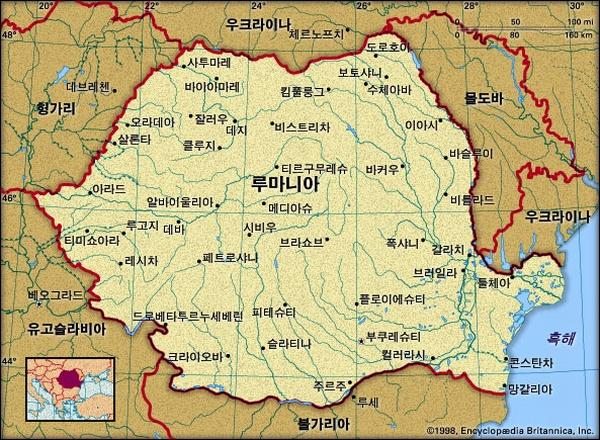 루마니아 지도. 브리태니카백과사전 지도