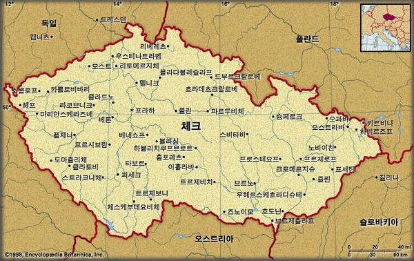 체크 지도. 브리태니카백과사전 지도