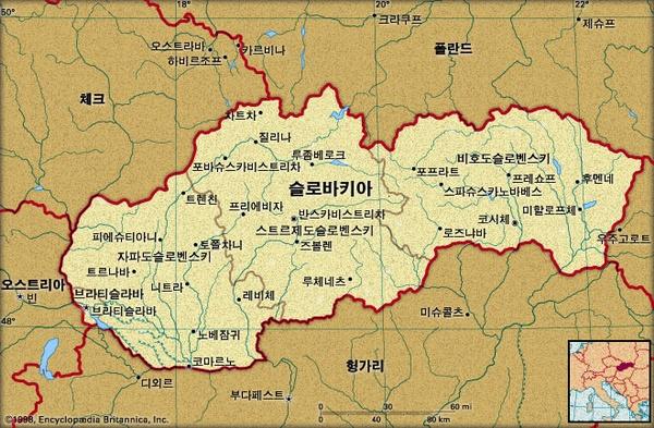 슬로바키아 지도. 브리태니카백과사전 지도