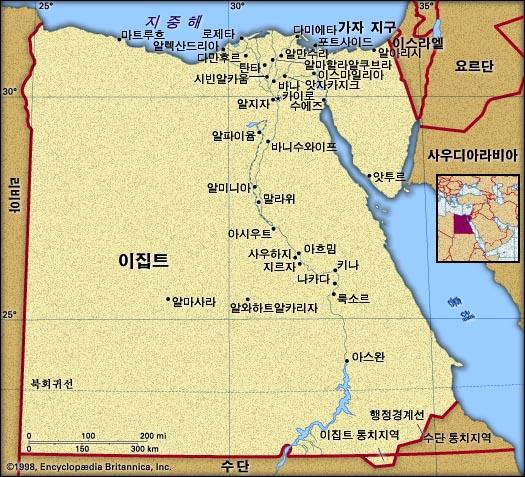 이집트 지도. 브리태니카백과사전 지도
