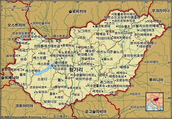 헝가리 지도. 브리태니카백과사전 지도