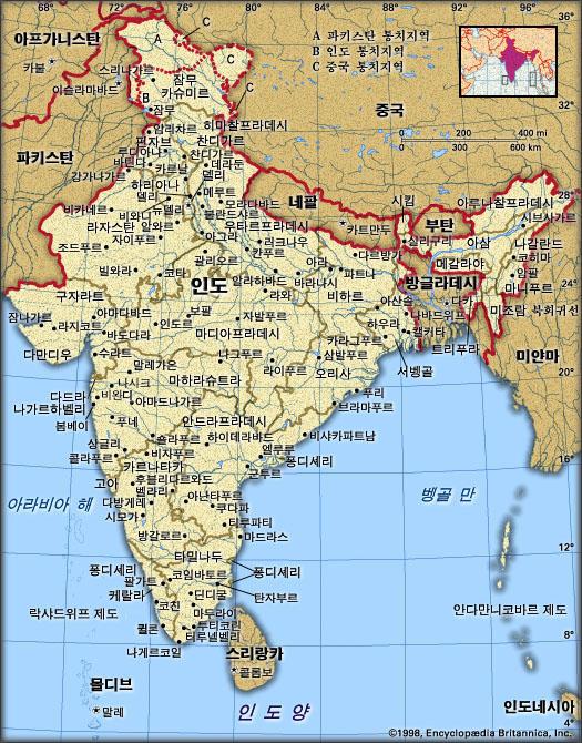 인도 지도. 브리태니카백과사전 지도