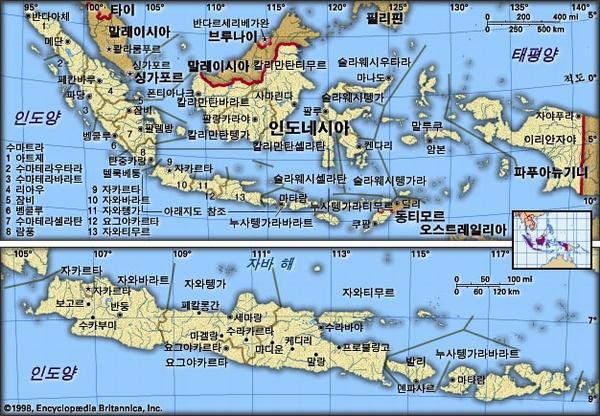 인도네시아 지도. 브리태니카백과사전 지도
