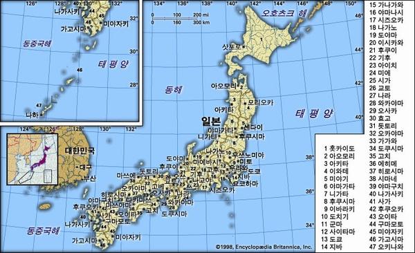 일본 지도. 브리태니카백과사전 지도