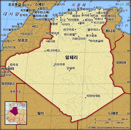 알제리 지도. 브리태니카백과사전 지도