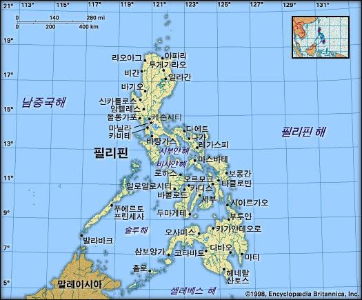 필리핀 지도. 브리태니카백과사전 지도