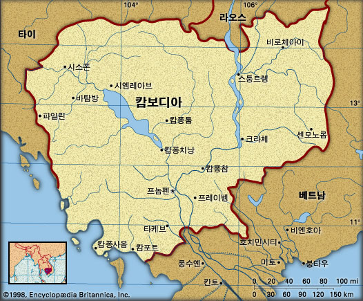 캄보디아 지도. 브리태니카백과사전 지도