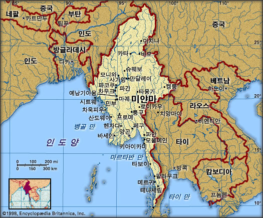 미얀마 지도. 브리태니카백과사전 지도