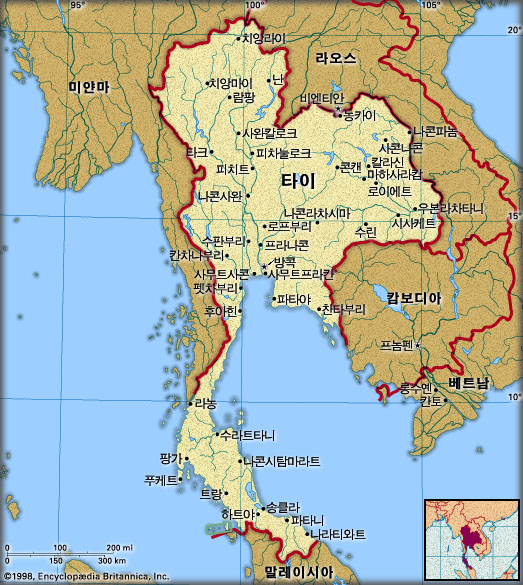 타이 지도. 브리태니카백과사전 지도