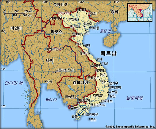베트남 지도. 브리태니카백과사전 지도