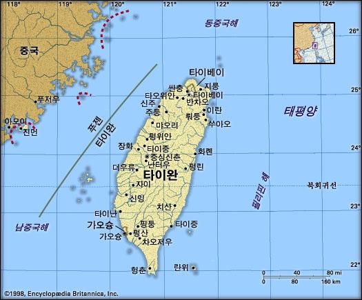 타이완 지도. 브리태니카백과사전 지도