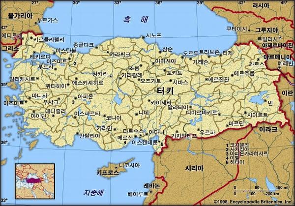 터키 지도. 브리태니카백과사전 지도