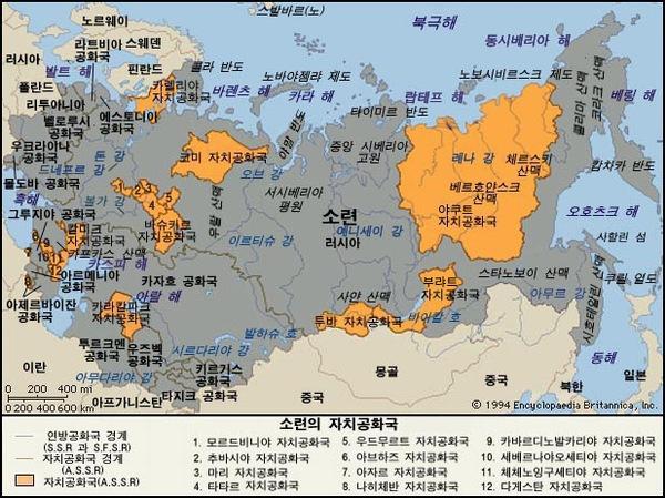 소련 지도. 브리태니카백과사전 지도