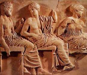 포세이돈ㆍ아폴론ㆍ아르테미스가 조각된 동쪽의 프리즈, 아크로폴리스미술관 소장. 한메디지탈세계대백과 사진
